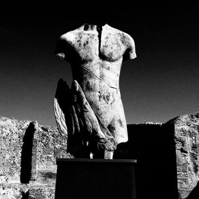 """Torso Sculpture in Pompeii Black and White"" stock image"