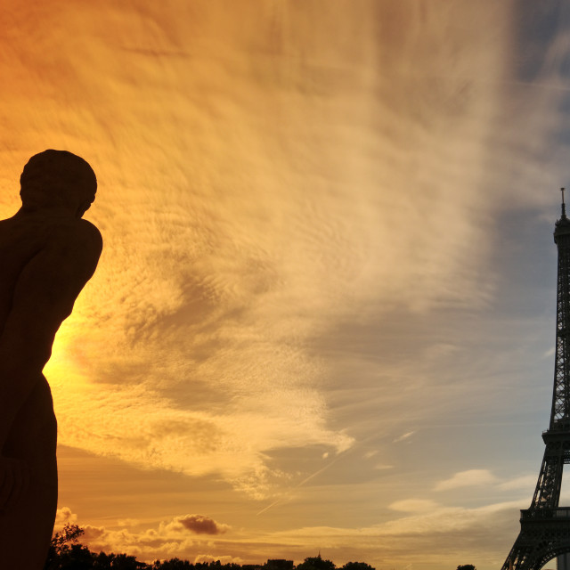 """Eiffel tower sunrise"" stock image"