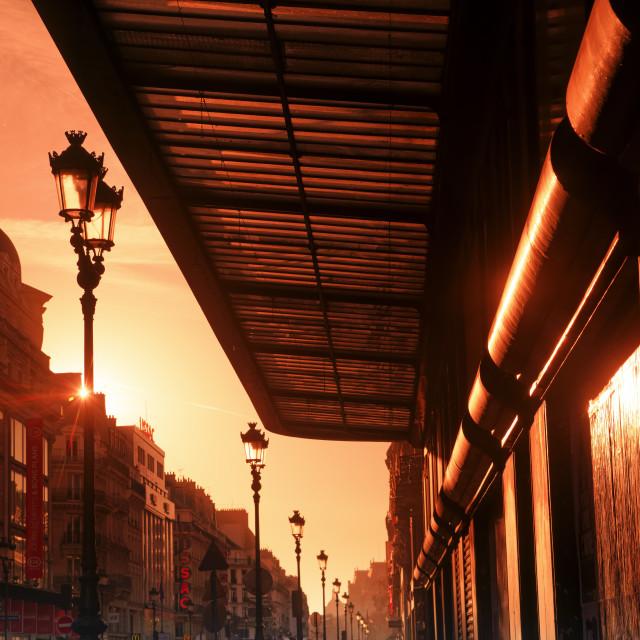 """Rivoli street sunrise"" stock image"