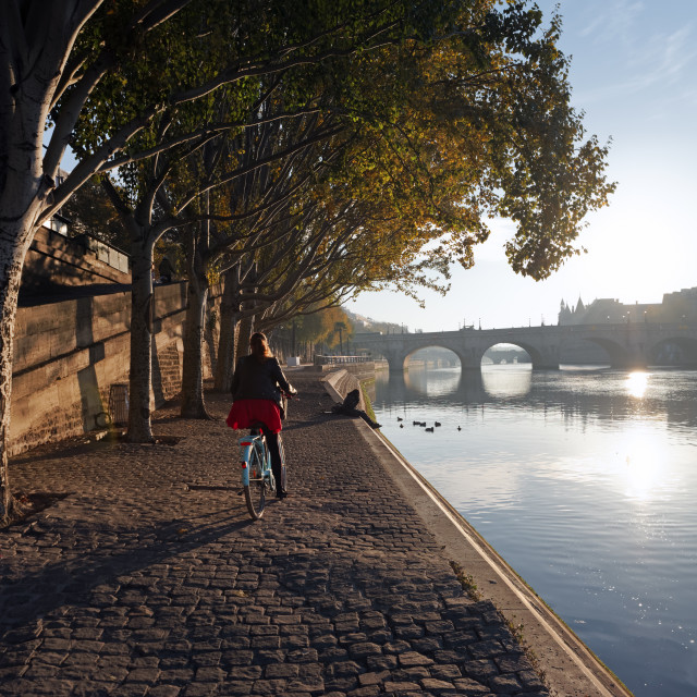 """""""Bicycle on seine river quay"""" stock image"""