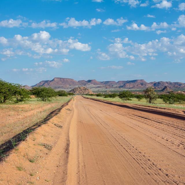 """driving damaraland savannahs"" stock image"