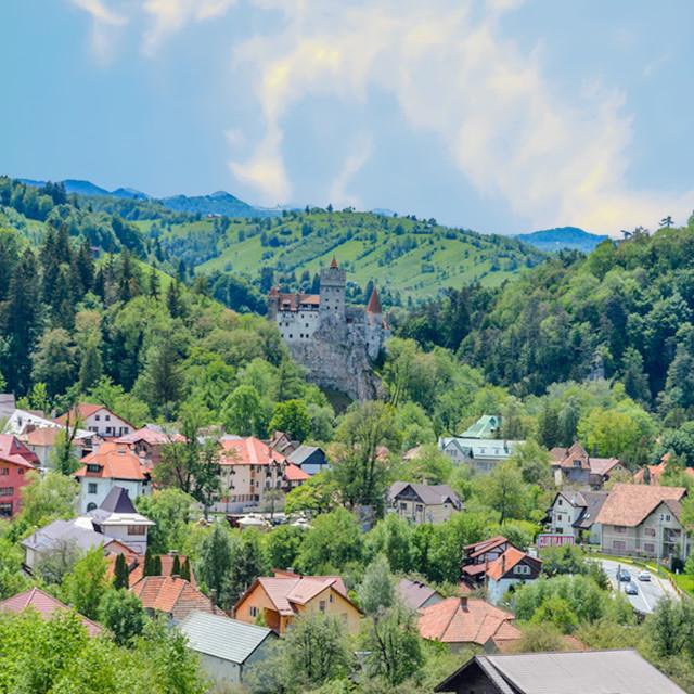 """Bran Castle And The City Of Bran, Romania"" stock image"