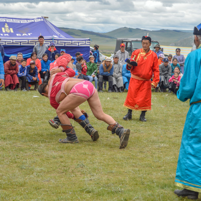 """""""Outcome of Naadam Wrestling Match At Hand"""" stock image"""