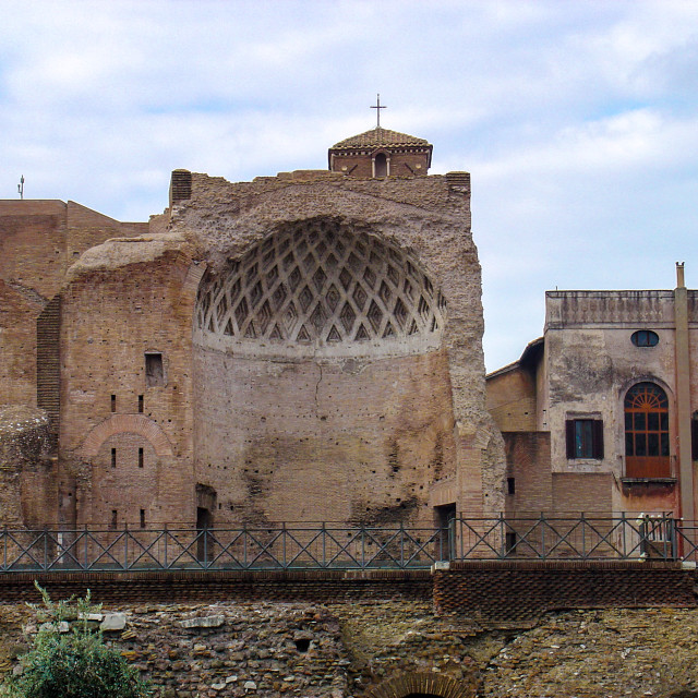"""""""Roman Church Carved In Half By an Earthquake"""" stock image"""