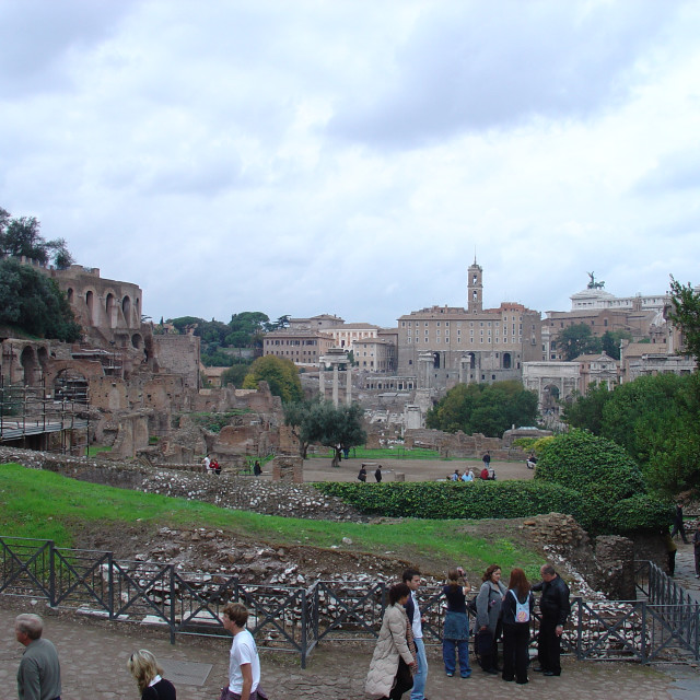 """""""The Ruins Of the Ancient Roman Forum Area of Rome Italy"""" stock image"""