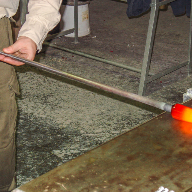 """""""Glass Blower Heating Glass Inside An Oven Venice Italy.jpg"""" stock image"""