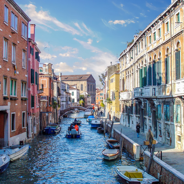 """""""Canal View Inside the Locals Area of Venice Italy"""" stock image"""