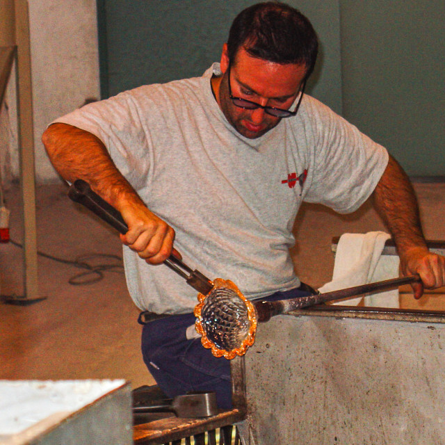 """""""Creating A Crystal Goblet In Venice, Murano Area"""" stock image"""