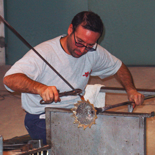"""""""Glass Blower Creating a Crystal Base Murano, Italy"""" stock image"""