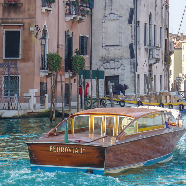"""""""Premium Water Taxi in Grand Canal, Venice, Italy"""" stock image"""