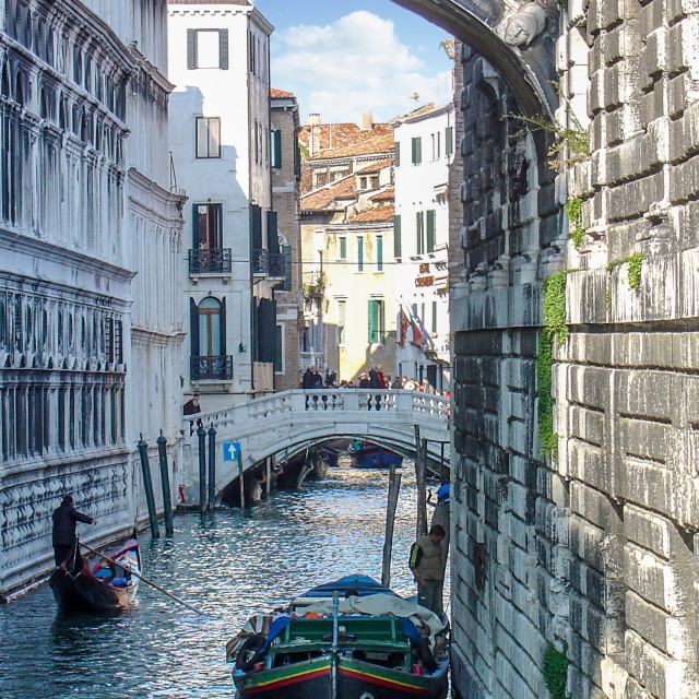 """""""Shadowed Waterway Inside the City of Venice, Italy"""" stock image"""