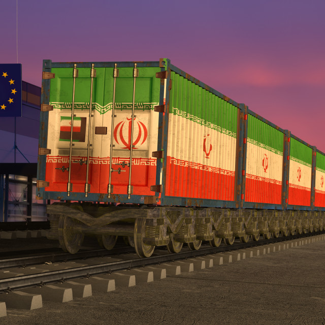 """railway wagons with containers from Iran entering the European Union"" stock image"