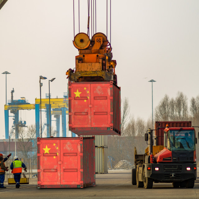 """cargo container with the china flag during unloading at the port"" stock image"