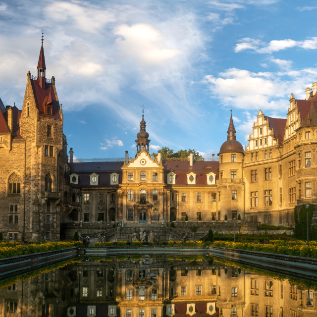 """Moszna near Opole,Lower Silesia, Poland-July 2019:Castle in Moszna in the..."" stock image"