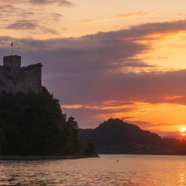 """Beautiful sunset over the castle in Niedzica,Poland"" stock image"