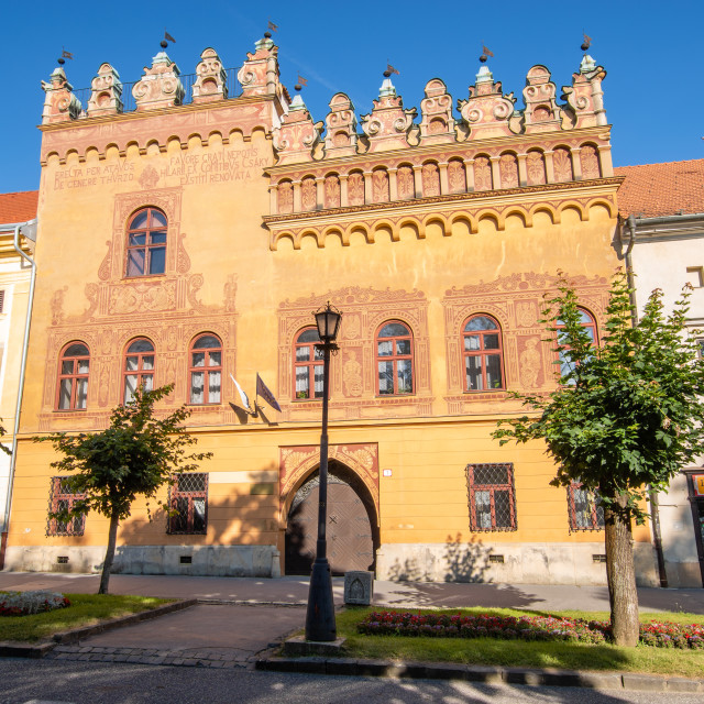 """Levoca, Spis, Slovakia-July 2019:Historic tenement houses in the center of..."" stock image"