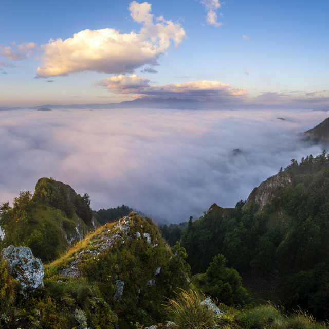 """panorama of mountains and valleys covered with morning fog in the beautiful ,..."" stock image"