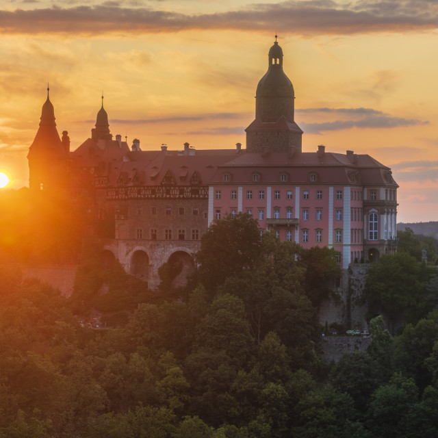 """Walbrzych,Lower Silesia,Poland-July 2019:Ksiaz castle illuminated with the..."" stock image"