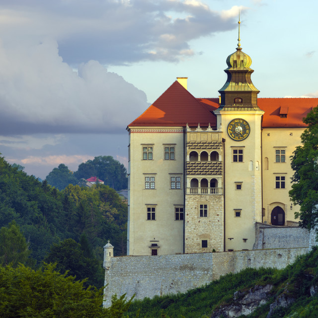 """Pieskowa Skala,Krakow,Poland-July 2019:Pieskowa Skala Castle, located in..."" stock image"