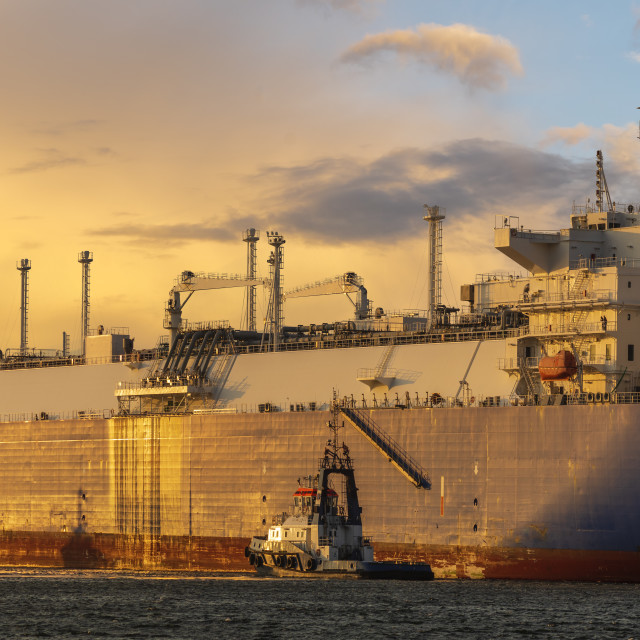 """LNG tanker during a liquefied gas supply operation to the LNG terminal in..."" stock image"