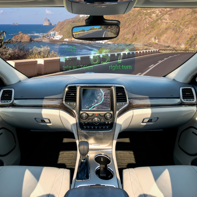 """The vision of autonomous, luxurious interior SUV.Futuristic car cockpit...."" stock image"