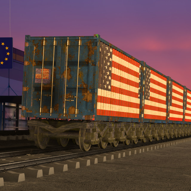 """railway wagons with containers with the US flag entering the European Union"" stock image"