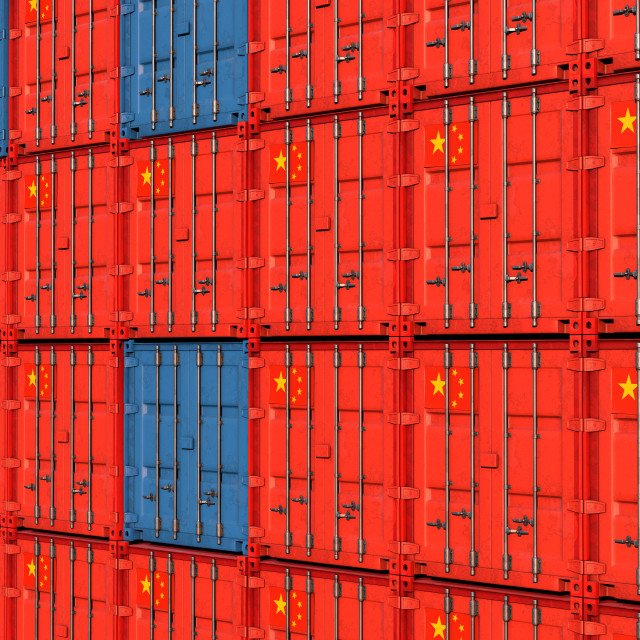 """stack of containers with the flag of China"" stock image"