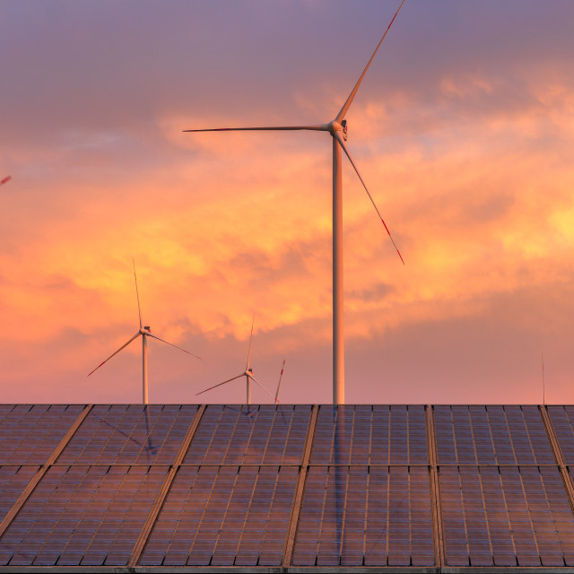"""photovoltaic panels and wind turbines-the concept of renewable energy sources"" stock image"