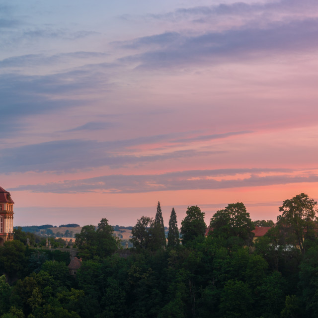 """Ksiaz castle illuminated with the light of the rising sun.Książ Castle,..."" stock image"
