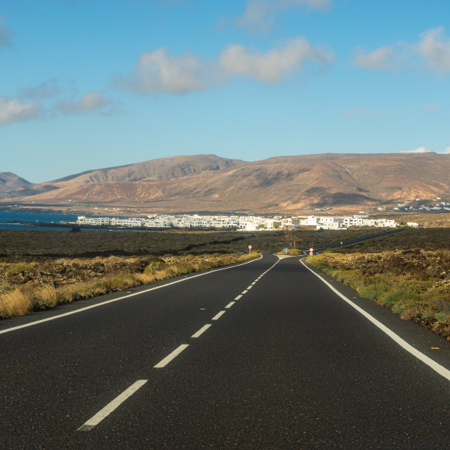 """Tourist, scenic road to Lanzarote, running near the ocean"" stock image"