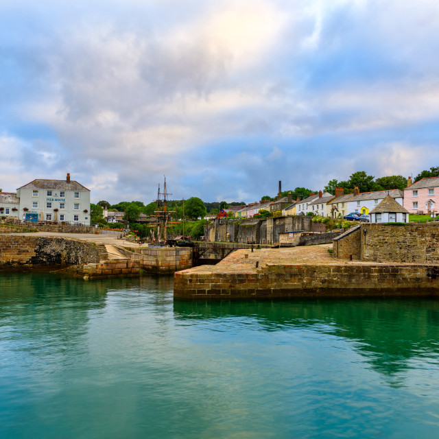 """""""CHARLESTOWN, CORNWALL, UK - JUNE 30 2019: A view of the harbour"""" stock image"""