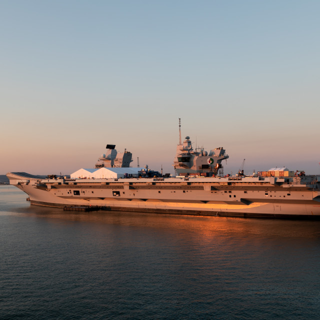 """HMS Queen Elizabeth in the Portsmouth sunset"" stock image"
