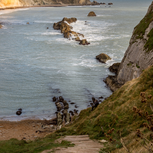 """A view down the steps at Lulworth Cove"" stock image"
