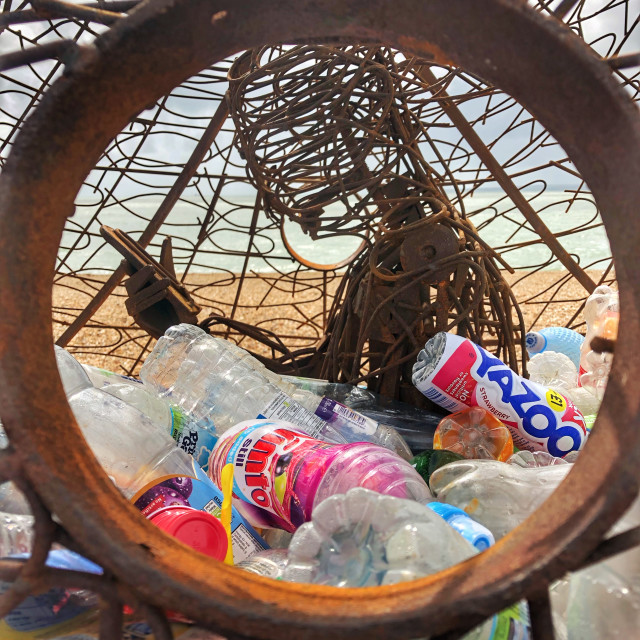 """Sculpture highlighting plastic waste"" stock image"
