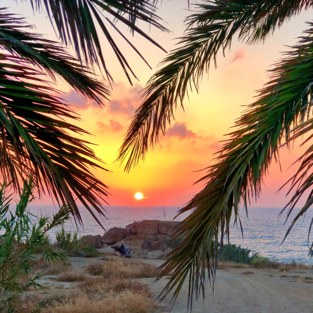 """Sunset in paphos"" stock image"