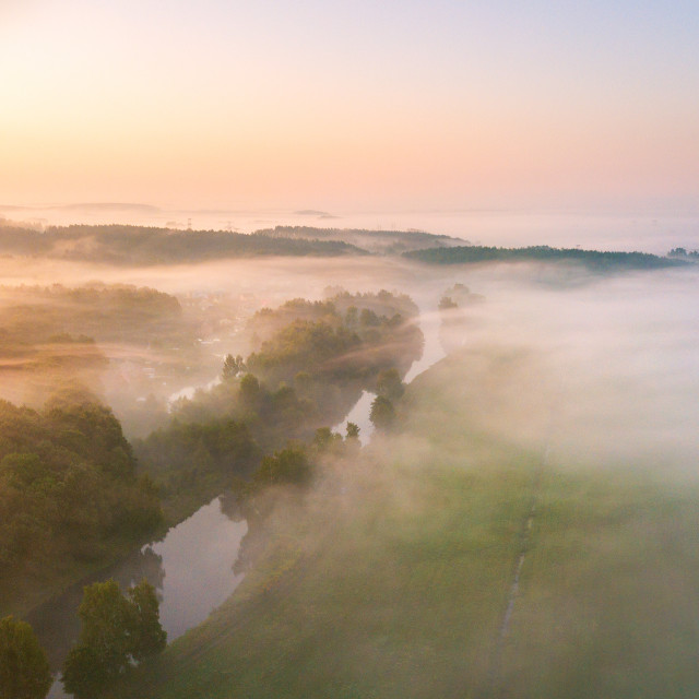 """""""Morning fog over river, meadow and forest."""" stock image"""
