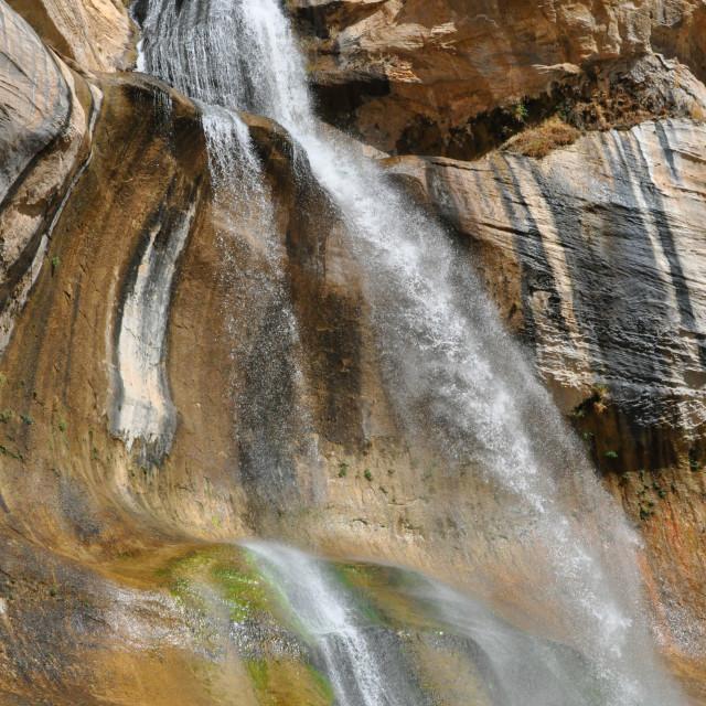 """""""calf creek falls in utah"""" stock image"""