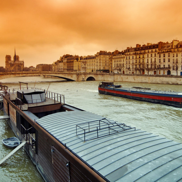 """Seine river flood in Paris"" stock image"