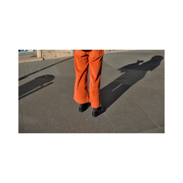 """Rome 2018 orange trousers street fashion"" stock image"