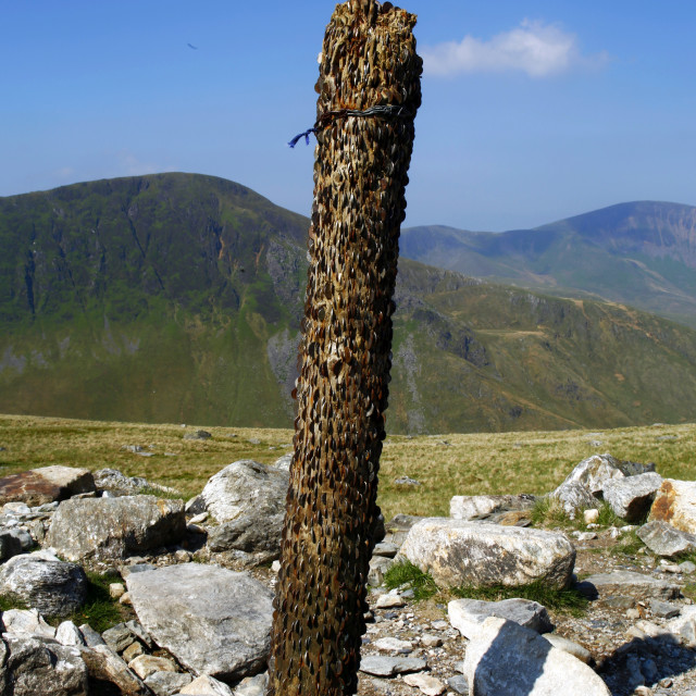 """Old Weathered Post on Snowdon"" stock image"