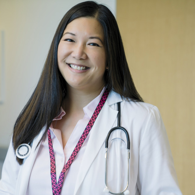 """""""Portrait of cheerful female doctor in hospital"""" stock image"""