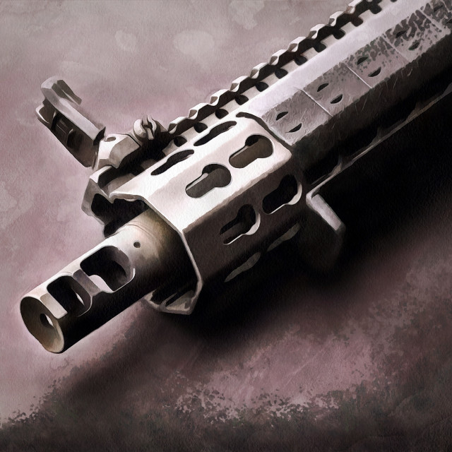 """""""The barrel of an assault rifle. Close-up. Art painting. Abstract paint."""" stock image"""