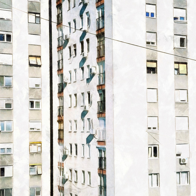 """""""High-rise building with air conditioning and plastic windows. Art painting. Abstract paint."""" stock image"""
