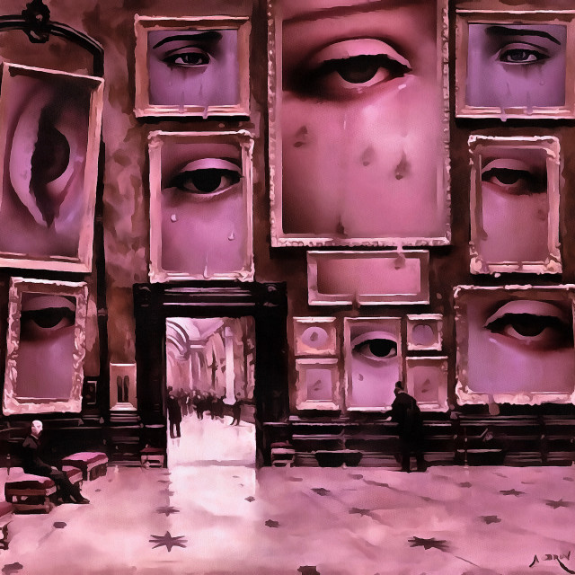 """""""Picture gallery dedicated to human tears. Art painting. Abstract paint."""" stock image"""