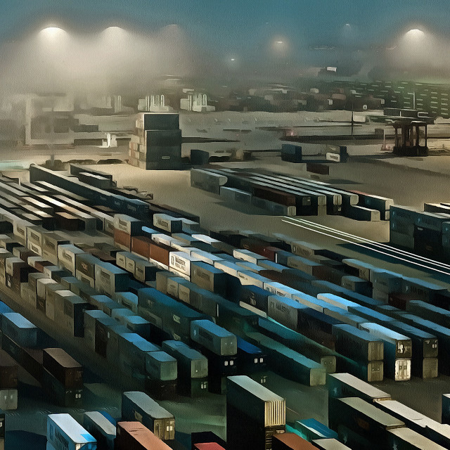 """""""Port warehouse with many containers. Art painting. Abstract paint."""" stock image"""