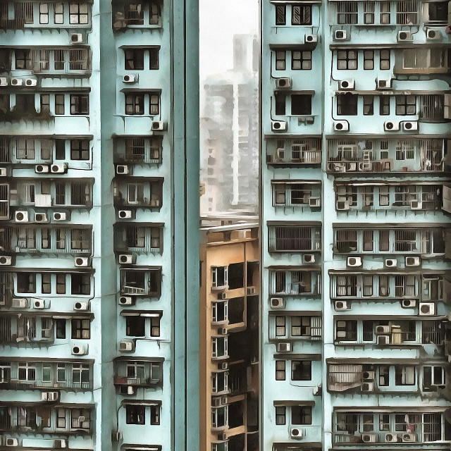 """""""Clearance between high-rise buildings of a residential area. Art painting. Abstract paint."""" stock image"""