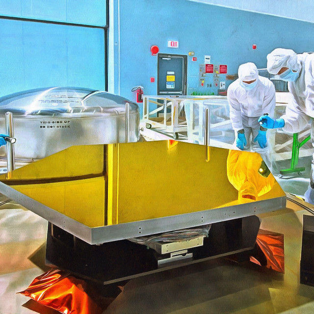 """""""Scientists at work around a metal surface of gold color. Art painting. Abstract paint."""" stock image"""