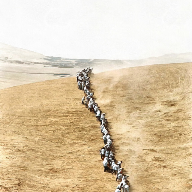"""""""A long chain of people stretching from the city to the desert. Art painting. Abstract paint."""" stock image"""