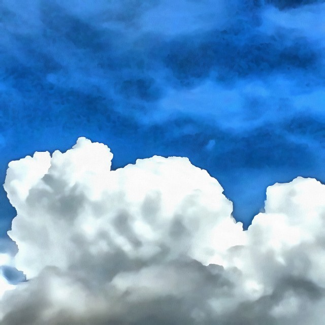 """""""White clouds on a background of blue sky. Art painting. Abstract paint."""" stock image"""
