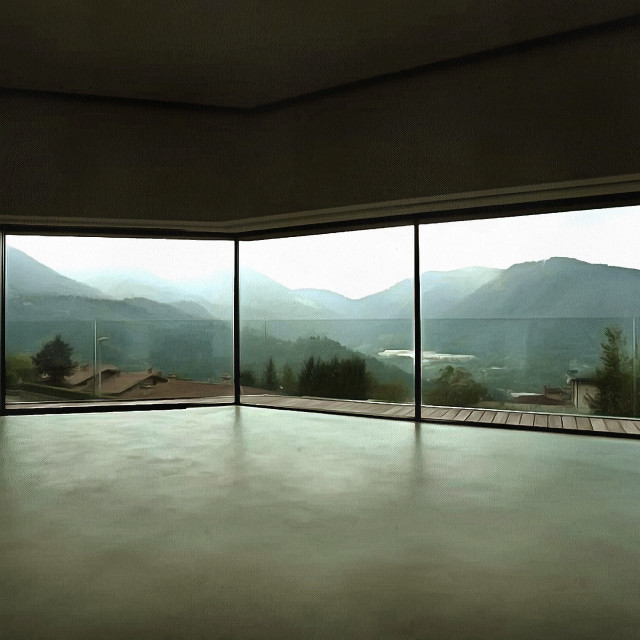 """""""House with glass walls - view of the mountains. Art painting. Abstract paint."""" stock image"""